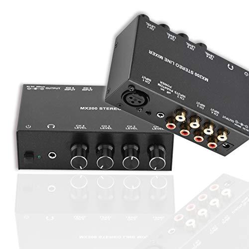Denash Mini-Karaoke-Mixer, Rauschunterdrückung Karaoke-Audio-Mixer 3RCA-Eingang und 1RCA-Ausgang Stereo-Sound Mini-DJ-Mixer Professioneller tragbarer Audio-Sound-Mixer