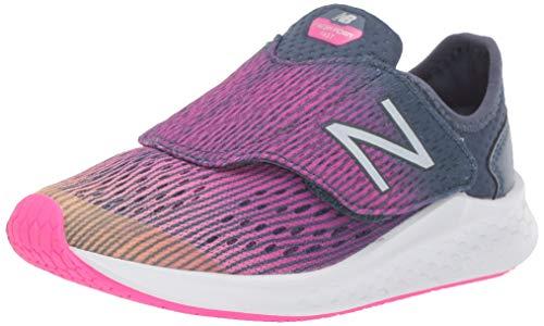 New Balance Girls' Hook and Loop Fresh Foam Fast Running Shoe, Light Mango with Peony & Vintage Indigo, 1.5 M US Little Kid