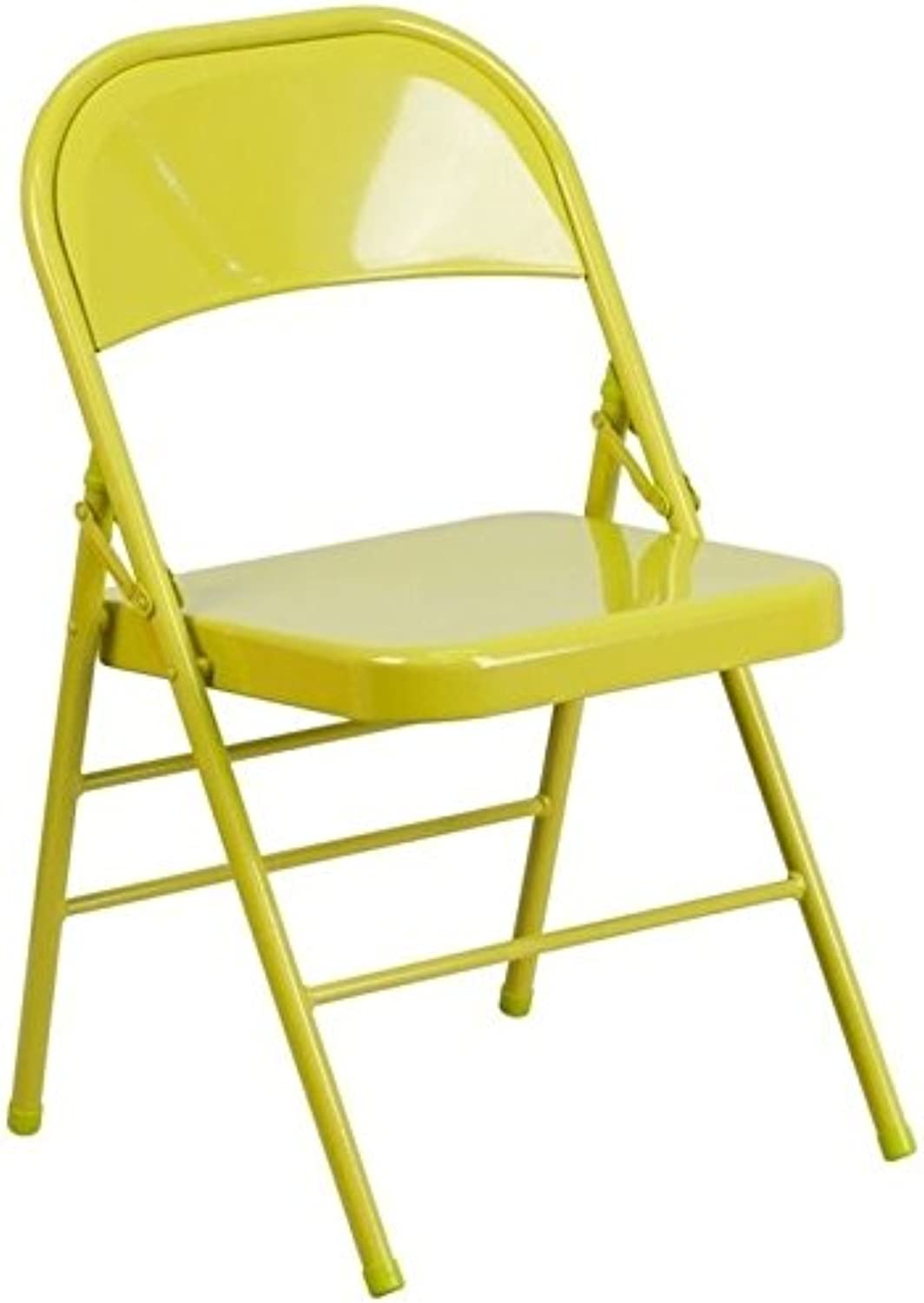 Bowery Hill Metal Folding Chair in Citron
