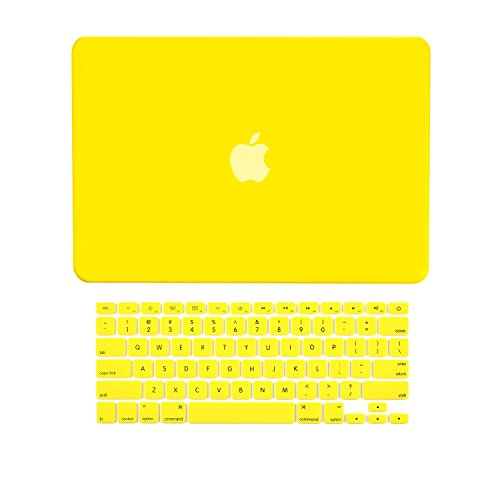 TOP CASE - 2 in 1 Signature Bundle Rubberized Yellow Hard Case and Keyboard Cover Compatible Old Generation MacBook Pro 15' with DVD Drive/CD-ROM Model: A1286 (Release 2008 - Mid 2012)