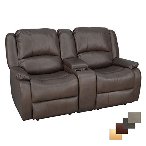 RecPro Charles Collection | 67' Double Recliner RV Sofa & Console | RV Zero Wall Loveseat | Wall Hugger Recliner | RV Theater Seating | RV Furniture | RV Sofa | RV Sofa Bed | RV Couch | Chestnut