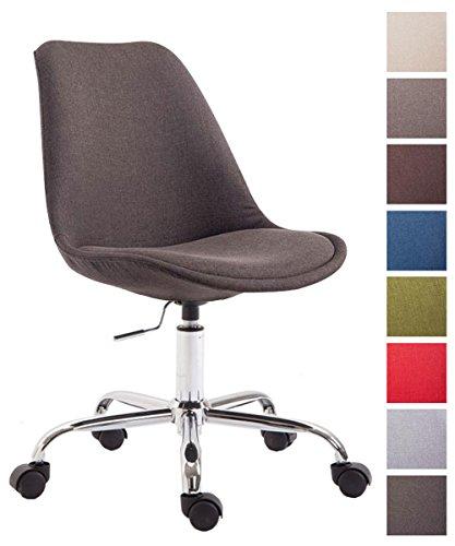 CLP Bürostuhl Toulouse mit Stoffbezug | Schreibtischstuhl mit Laufrollen | Drehstuhl mit Metallgestell in Chrom-Optik | Mit Farbwahl Dunkelgrau