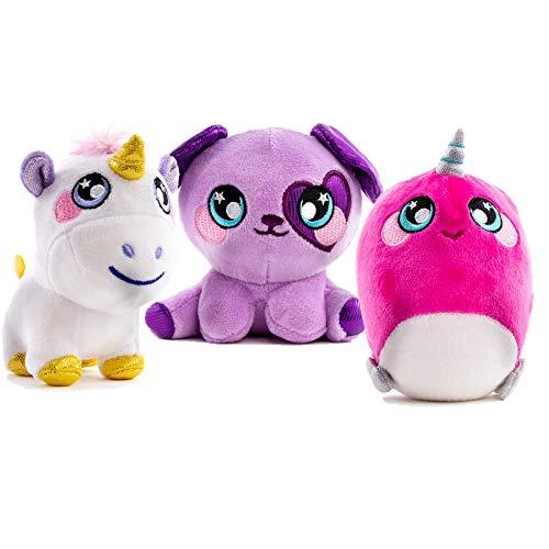 Squeezamals 3Deez, 3 Pack (Purple Dog Brennan, Unicorn Nana, Narwhal Jewel) Slow-Rise Foam Stuffed Animals