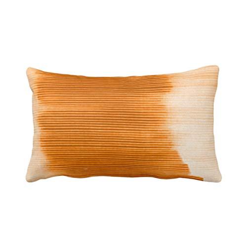 Traasd11an Funda de cojín rectangular decorativa con diseño de rayas, color naranja dorado y naranja