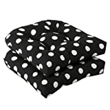 Pillow Perfect Outdoor/Indoor Polka Dot Tufted Seat Cushions (Round Back), 19' x 19', Black, 2 Pack