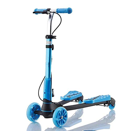 CYGJ Lega di Alluminio Scoot And Ride a 4,Blu Pieghevole Monopattino Veloce per Ragazze di età 2-8