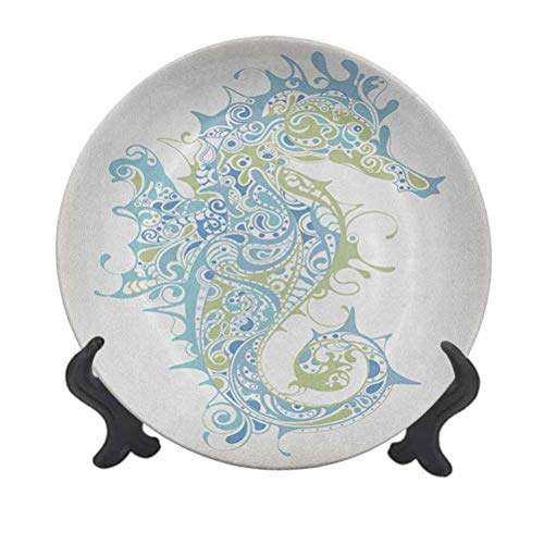 Plato decorativo de cerámica de 20,32 cm, diseño de caballito de mar antiguo ídolo espiritual ciclo de vida para pasta, ensalada, fiesta, cocina, decoración del hogar