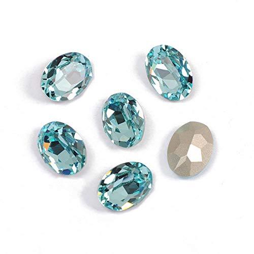 PENVEAT 4120 Oval Ornamente Strass Glas Edelsteine DIY Nähen Kristalle Phantasie Steine Pointback Genäht Strasssteine Hell Für Kleidung, Aquamarin, 13x18mm 8St