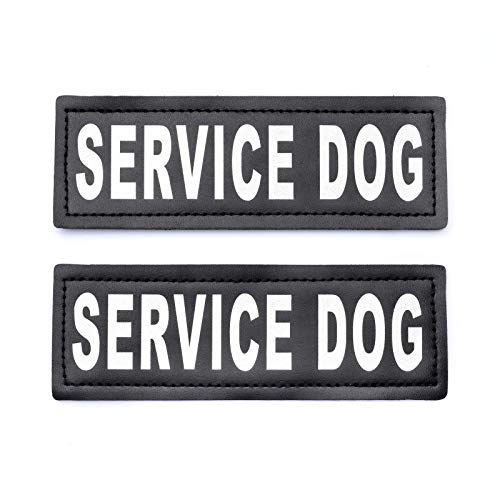 Service Dog Patch with Hook Reflective Lettering for Service Animal Vests (Large - 2' x 6')
