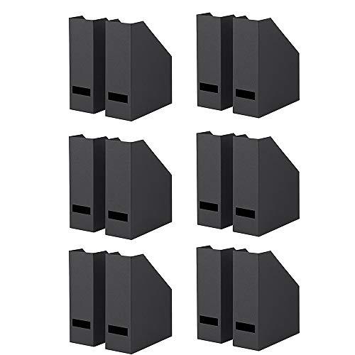Ikea TJENA Magazine File, Office Supplies Organizer for File Folders, Magazines, Notebooks (Set of 12, Black)