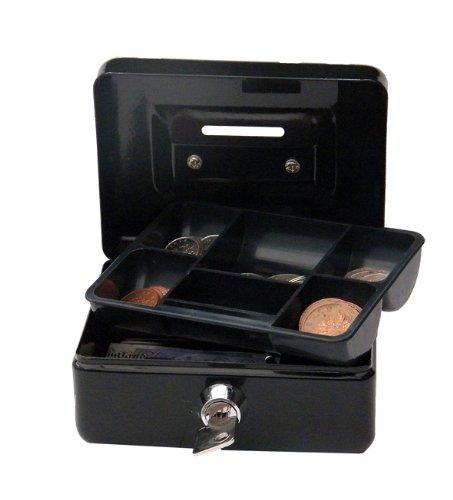 Cathedral - Caja metálica para dinero (cerradura, 2 llaves), Negro, 4'/ 12.5 cm