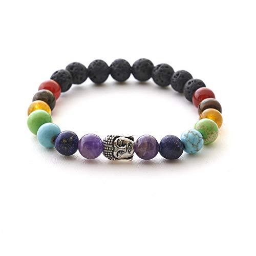 7 Chakren Buddha Armband mit Naturstein und Lavastein Perlen – BERGERLIN Feel Goods