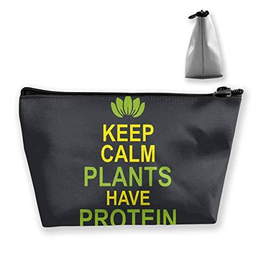 Mantener la Calma Las Plantas Tienen Bolsa de Maquillaje de proteínas Bolsa de Viaje de Almacenamiento Trapezoidal Grande Lavar Estuche de cosméticos Portalápices Cremallera Impermeable