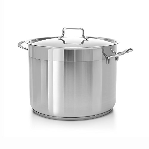 Hascevher Classic Stainless Steel Chef's Induction Stockpot with Lid, Multi-Purpose Cookware Engineered with Encapsulated Base (21 Quart)
