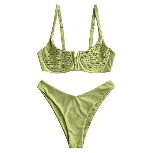 ZAFUL Bikini para mujer con aros acanalados en V, muesca ahumada, bikini de...