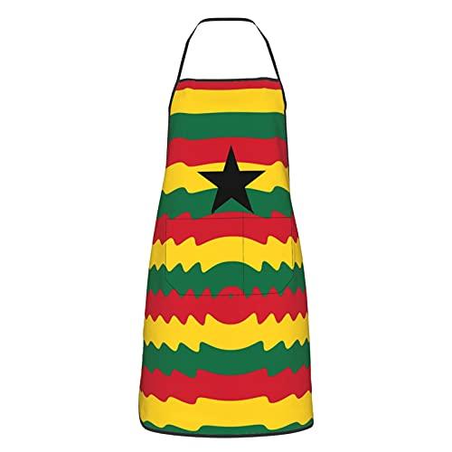 Küchenschürze mit Guatemala-Logo, mit Tasche, wasserdicht, Kawaii-Kochschürzen für den Garten, Originalität Ghana-Flagge, One size