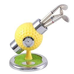 NUOBESTY Mini Desktop Golf Bag Pen Holder with Golf Pen Clock Pencil Container Gifts Golf Souvenirs for Men Fathers Golfer Fans (Random Color)