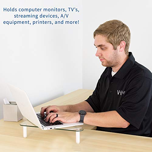 VIVO Glass Ergonomic Tabletop Riser, Triangle Desktop Universal Corner Stand for Computer Monitor and Laptop STAND-V000Q Photo #5