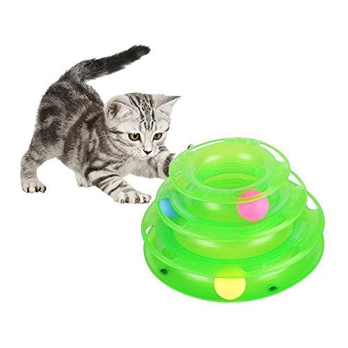JIAHAO Drei Ebenen Haustier Katze Spielzeug Turm Tracks Disc Katze Intelligenz Amusement Triple Cat Toys Ball Training Amusement Plate (grün)