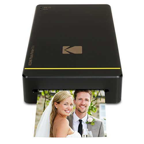 """Kodak Mini Portable Mobile Instant Photo Printer - Wi-Fi & NFC Compatible - Wirelessly Prints 2.1 x 3.4"""" Images, Advanced DyeSub Printing Technology (Black) Compatible with Android & iOS"""