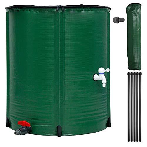 ECD Germany Tanque de Agua de Lluvia Plegable 200 L con Grifo Ø60 x 70 cm Fabricado en PVC Verde Barril Recolección de Agua Provisión de Almacenamiento Precipitaciones Cisterna para Depósito Exterior