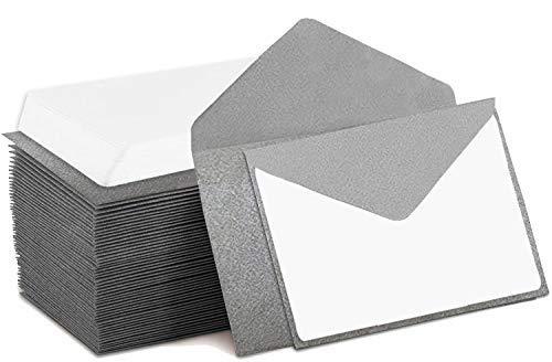 Mini Envelopes Silver 4' x 2.75' Gift Card Envelopes. Easy-Seal Business Card/Gift Card Envelopes (140 Pack with Cards)