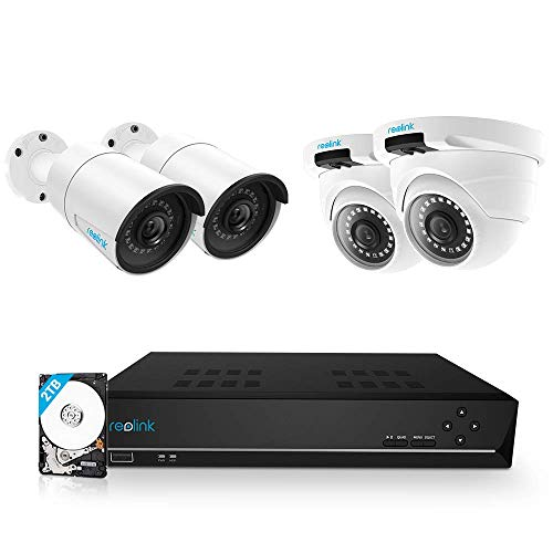 Reolink 8CH 5MP PoE Home Security Camera System, 4pcs Wired 5MP Outdoor PoE IP Cameras, 5MP 8-Channel NVR Security System with 2TB HDD for 24/7 Recording