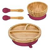 Vinsani Bol en bambou, assiette ronde et cuillère pour bébé/tout-petit, assiette à ventouse, design stable, hypoallergénique et sans BPA (rouge)