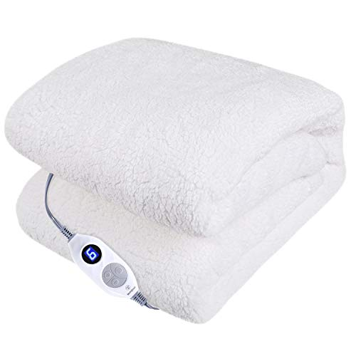 Westinghouse Electric Blankets Heated Throw Soft Cozy Sherpa Heating Blanket, 6 Heat Settings & 4 Hours Auto Off Ivory 50x60in