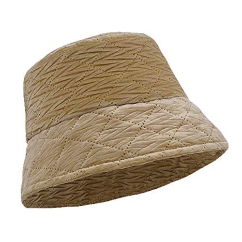 HT LT Sombrero de Cubo otoño otoño Invierno cálido Cubo Sombrero de Color sólido, Caqui