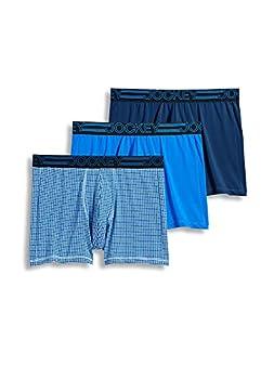 Jockey Men s Underwear Active Microfiber Boxer Brief - 3 Pack Just Past Midnight/Spikey Geo/Outrageous Blue l