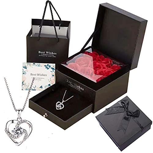 Hopeful 9 gargantillas de rosas artificiales y bañadas en plata, embalaje de lujo y tarjeta de felicitación. Regalo para familia, amigos, amantes, madres, amantes, para expresar gratitud y amor.