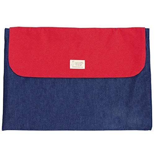 防災頭巾カバー 無料名入れ 小学生 幼児 背もたれ 座布団 日本製 男の子 女の子 防災グッズ (デニムレッド) 刺繍
