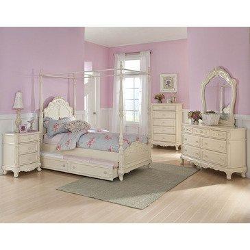 Hot Sale Homelegance Cinderella 5 Piece Canopy Poster Bedroom Set In Antique White