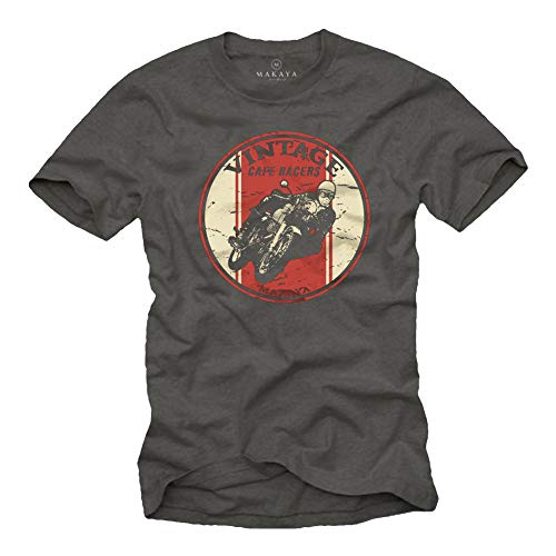 MAKAYA Ropa Motorista Hombre - Vintage Cafe Racer - Camiseta Moto Gris M