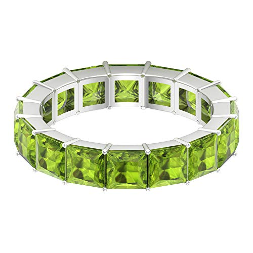 Anillo de piedra natal de agosto, 5,4 CT 4x4 MM corte princesa anillo de peridoto creado en laboratorio, delicada banda de boda, anillo de dama de honor, 14K Oro blanco, Size:EU 70