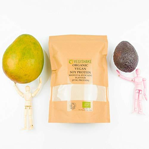 Organic Soy Protein Powder Mango & Avocado Flavour 57.5g Plant Protein Amino ECAA BCAA Complete Protein Vegan (250g)