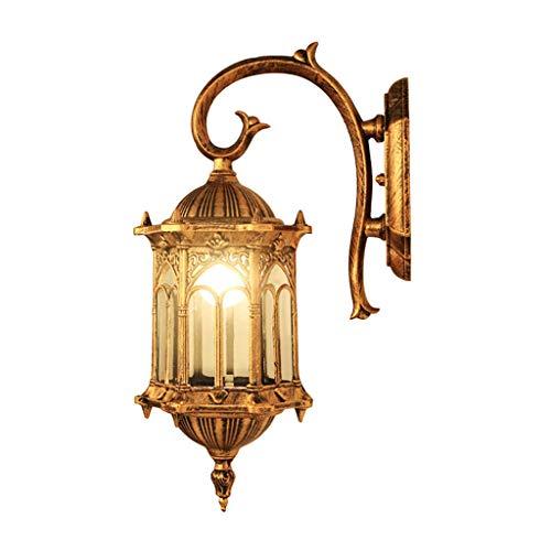 Applique D'extérieur Rétro - Lampes De Décoration Antique du Restaurant, Côté du Couloir De La Cour (avec Aucune Source De Lumière) (Color : Gold)