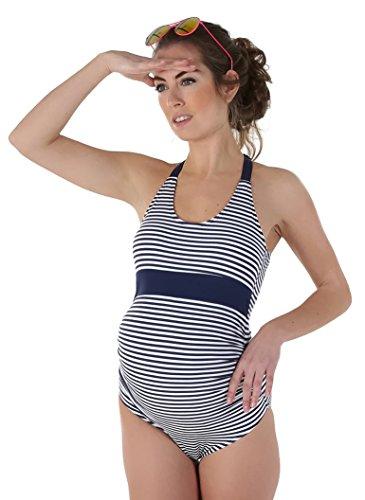 Petit Amour ANYA Raffinierter Umstandsbadeanzug Schwimmanzug für Schwangere/Navy-Weiß Gr. M