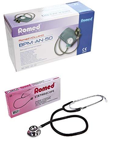 Blutdruckmessgerät Romed mit Pumpball und Oberarm Manschette mit Doppelkopfstethoskop Medi-Inn