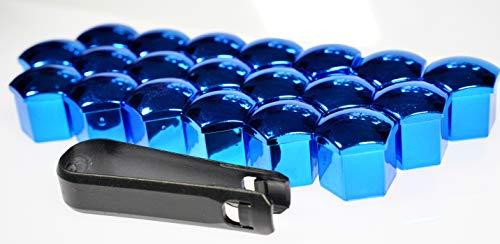 Generisch 16x 20x 24x Radschrauben Radmuttern Bolzen Kappen Abdeckung Blau 17mm (24)