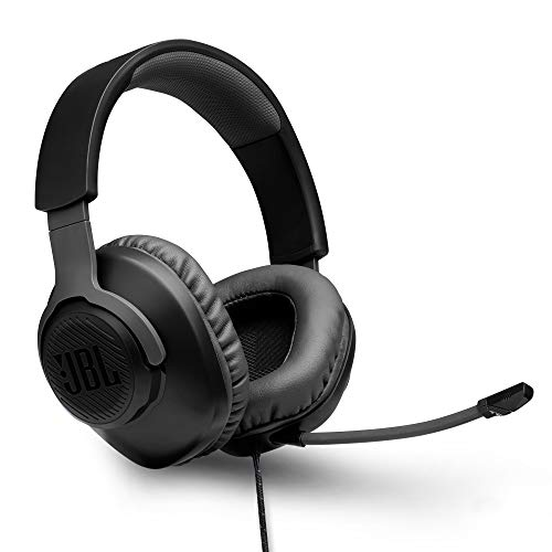JBL Quantum 100 by Harman, Wired Over Ear Gaming Headphones with Detachable Mic for PC, Mobile, Laptop, PS4, Xbox, Nintendo Switch, VR (Black)