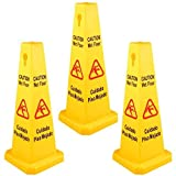 BestEquip 3 Pack Floor Safety Cone Yellow Caution Wet Floor Signs 4 Sided Floor Wet Sign Public Safety Wet Floor Cones Bilingual Wet Sign Floor for Indoors and Outdoors