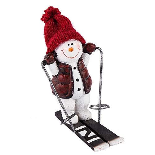Deko-Schneemann mit Skiern, 11cm hoch, Polyresin