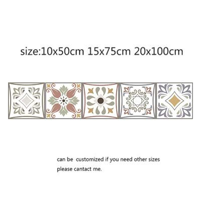 QWERTYU Arabische Retro Tegel Stickers Voor Keuken Badkamer PVC Zelfklevende Muurstickers Woonkamer DIY Decor Behang Waterdichte LIFUQIANGME, 15x75cm, 20