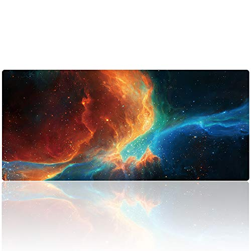 Duboon Large Gaming Mouse Pad Desk Mat Protector 35.4x15.7IN & Non- Slip Extended Smooth Mouse Mat Blotter Comfortable Writing Surface (90x40 ashes025)