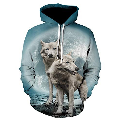 XJWDTX Wolf Koning Print Hooded Pocket Coltrui Heren Helm Heren Trui