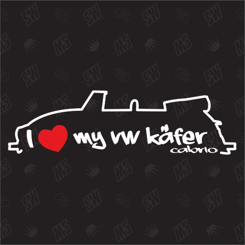 speedwerk-motorwear I Love My Sticker voor VW Kever Cabrio - bouwjaar 72-80.