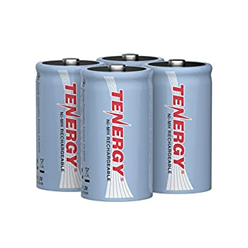 Tenergy 10000mAh NiMH D Battery Rechargeable High Capacity D Size Battery High Drain D Cell Batteries for Flashlight 4-Pack - UL Certified