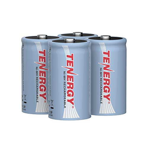 Tenergy 10000mAh NiMH D Battery, Rechargeable High Capacity D Size Battery, High Drain D Cell Batteries for Flashlight, 4-Pack - UL Certified